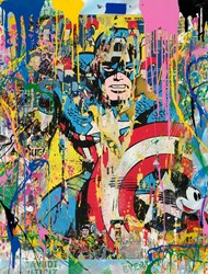 Captain America by Mr. Brainwash - Original on Paper sized 38x50 inches. Available from Whitewall Galleries